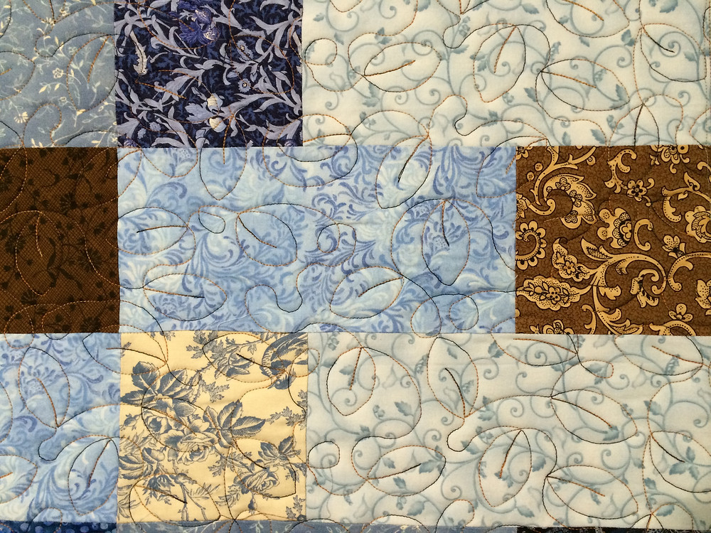 Leaves Quilting Pattern on Squares and Rectangles Quilt by Delia Romero
