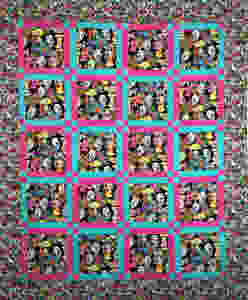 day of the dead quilt with hot pink and aqua sashing