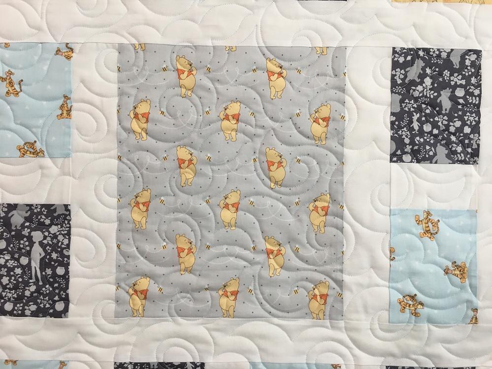 closeup of Melissa Garibay Winnie the Pooh Quilt
