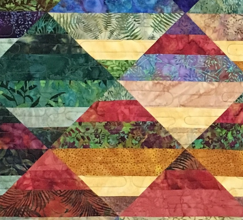 close up of Multi Color Batiks on Point quilt by Chris Olsen
