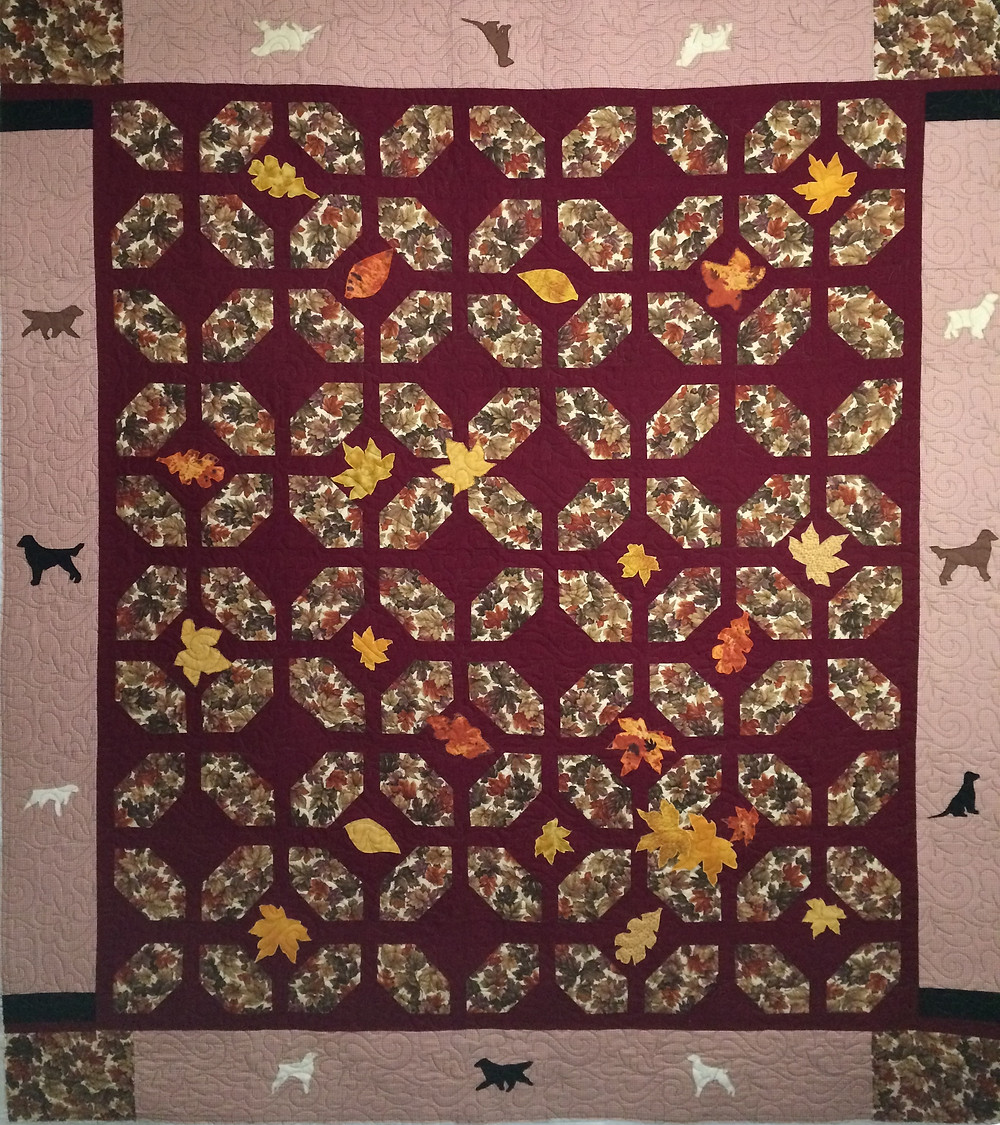 Jennifer Dogs in Autumn Quilt