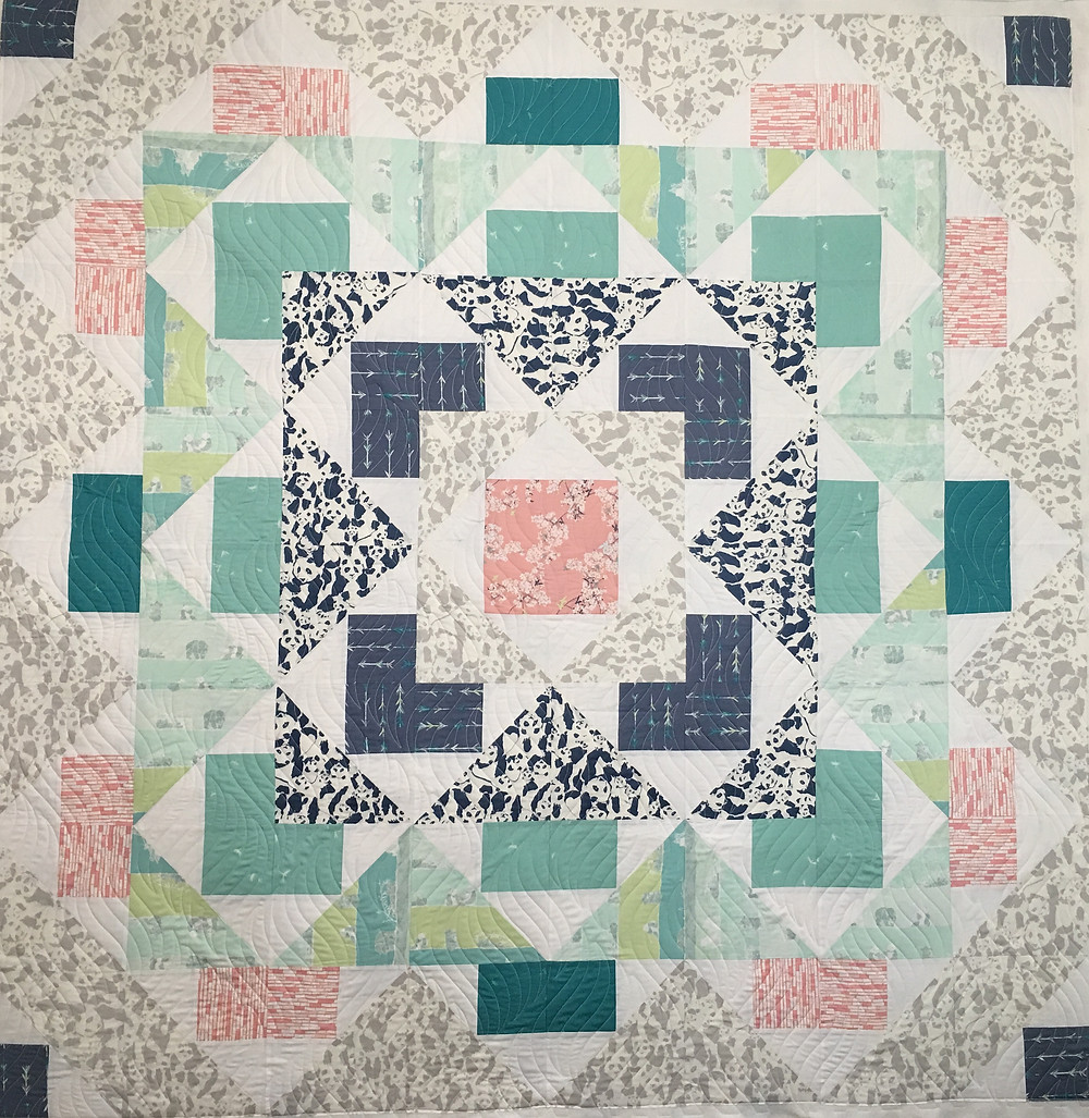 Codi's Modern quilt with a mixture of soft and bold fabrics