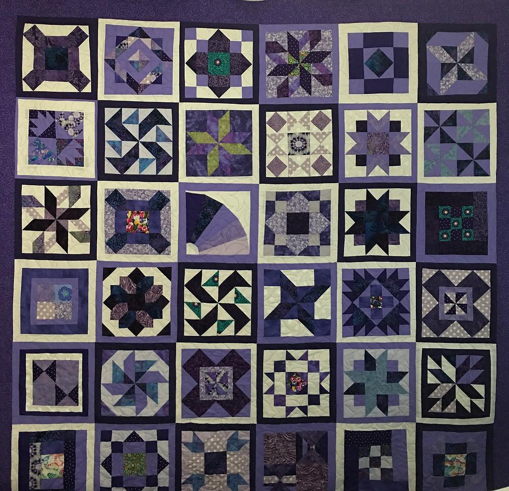 Sampler Quilt in Purples by Billie Murphy