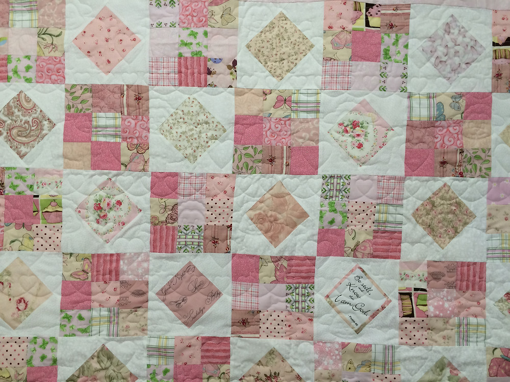 Judi pink and white blocks quilt