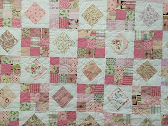 Judi Castro Pink and White Roses Quilt