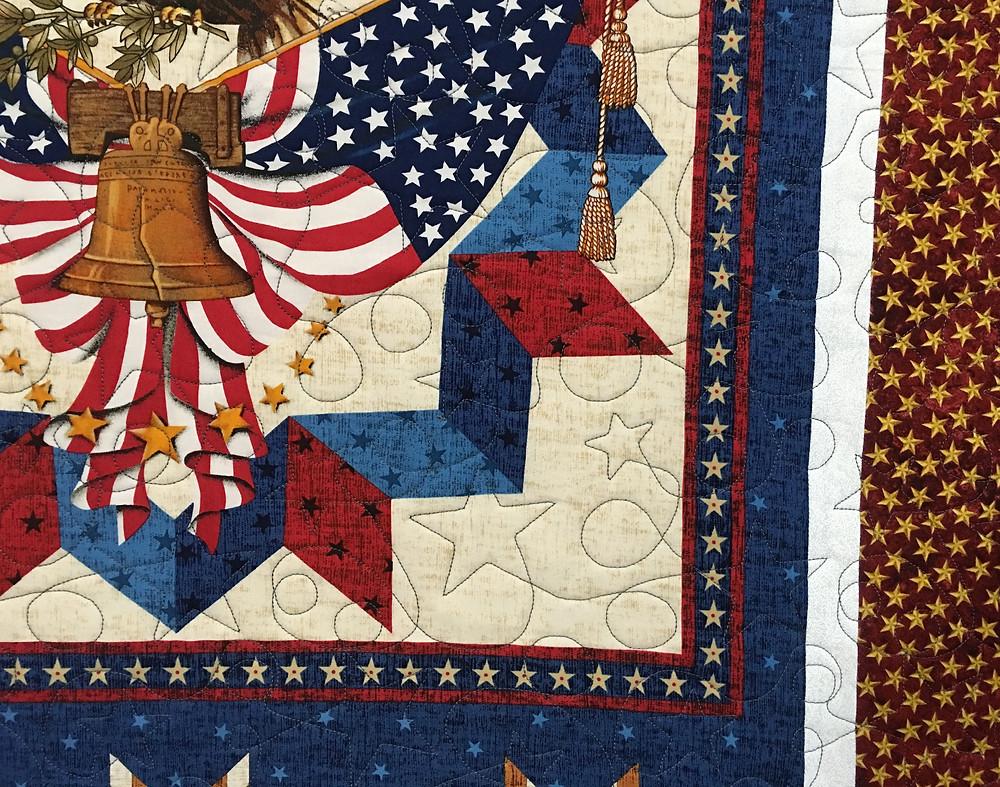 closeup of Janet Patriotic Quilt