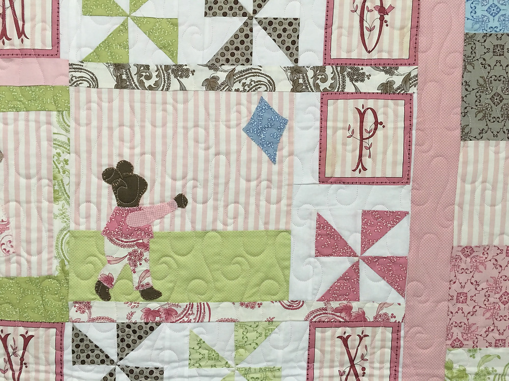 Another close up of Nancy ABC of Life with Mice Quilt