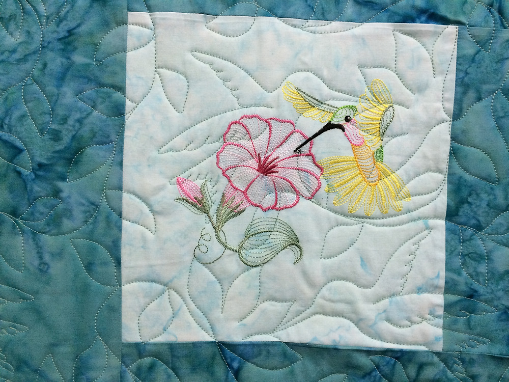 Hummingbord Quilting Pattern on Hummingbird Qult by Pamela Marshall