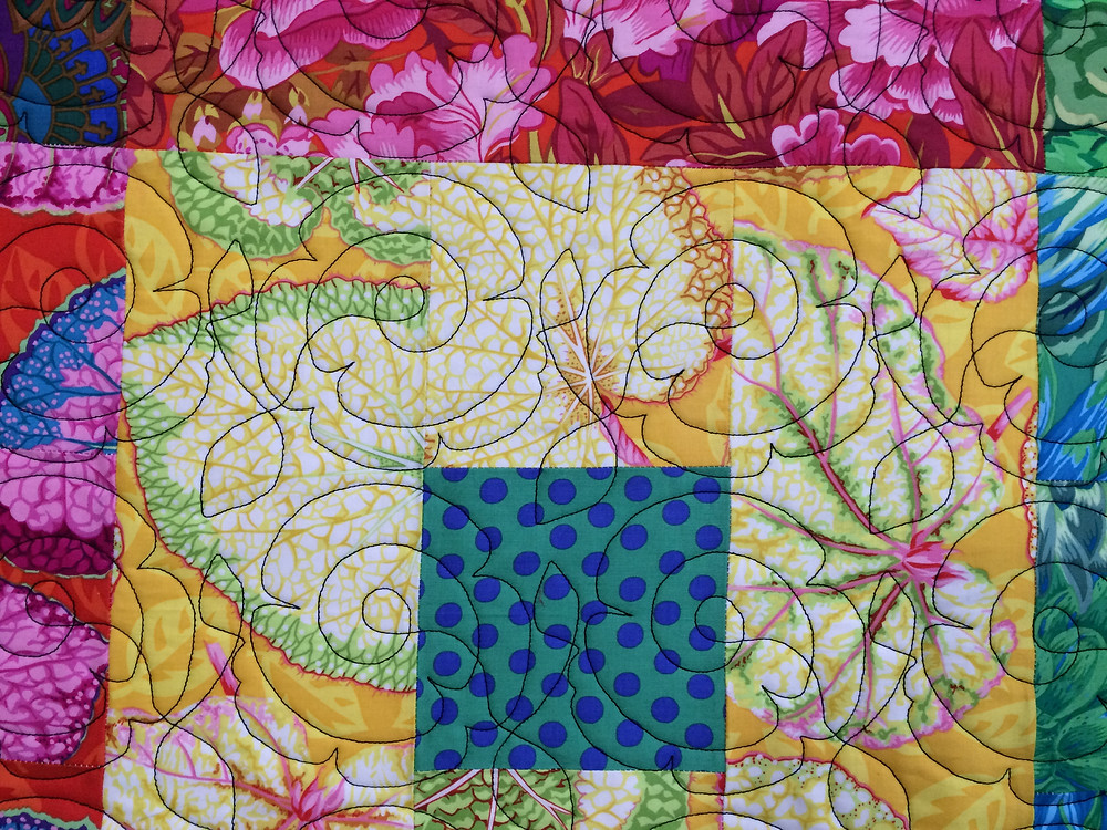 close up of Jean Tucker's Square in a Square Quilt