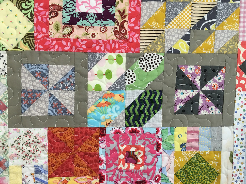 Close of the quilting on Juliann's Gypsy Wife Quilt