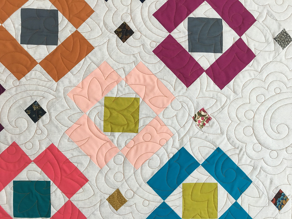 Flowers quilting pattern on Floating Blocks quilt by Jill Seward.