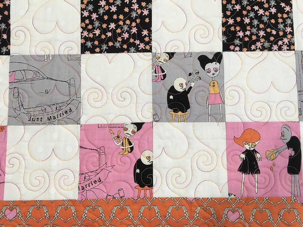 closeup of Cheryl Cohorn's Married on Halloween Quilt