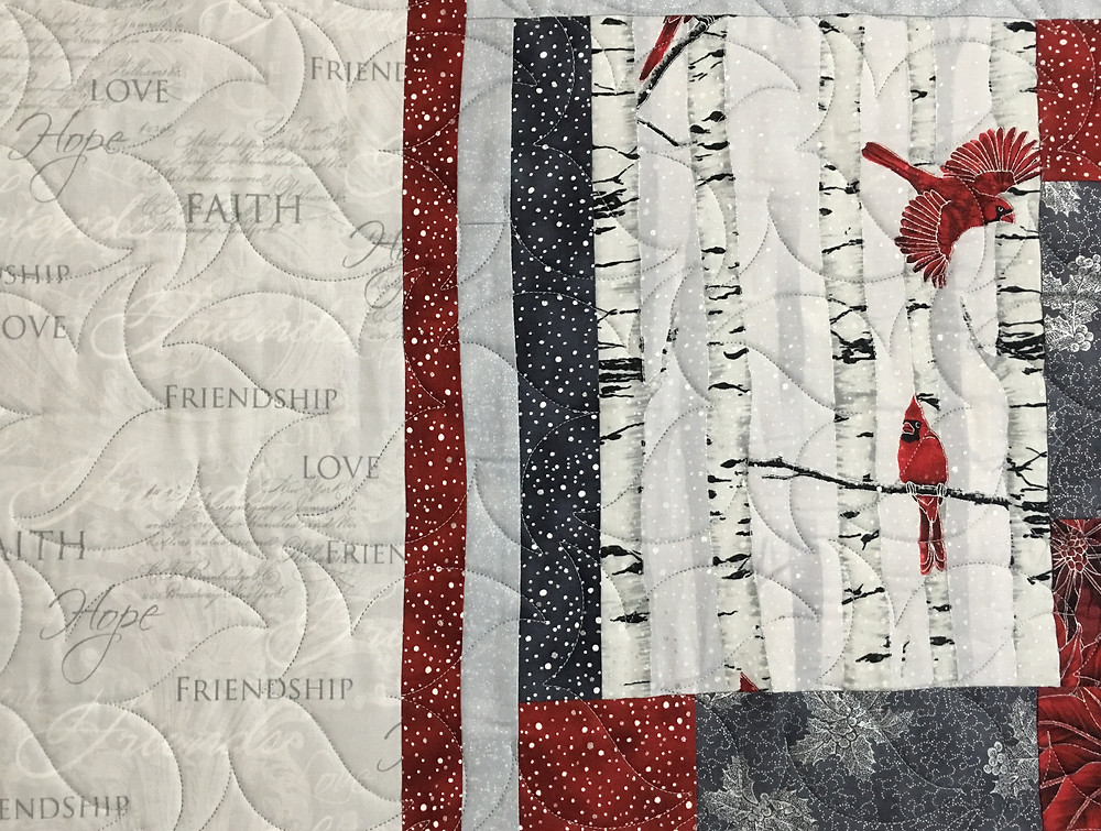 Another close of leaves quilting pattern on Cardinals Quilt by Jennifer Adams