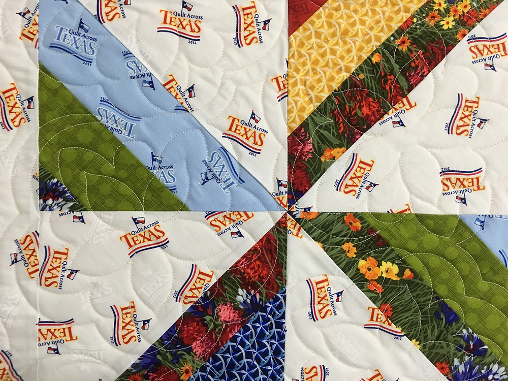 Flower Quilting Pattern on Texas Quilt by Sheila Stuckey