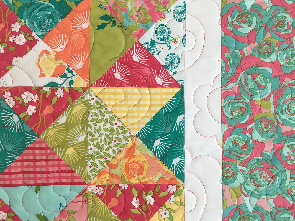 Flower Quilting Pattern on Bright Colorful Florida Quilt by Susan Abram
