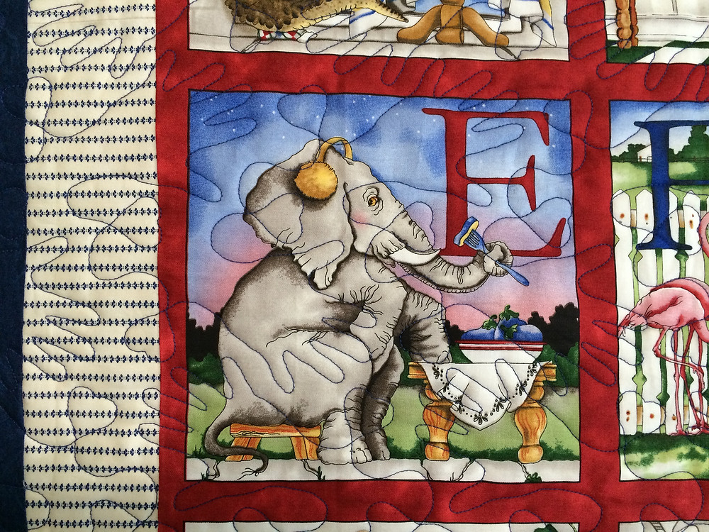 Closeup of Rosemary Duke's Alphabet Quilt with animals