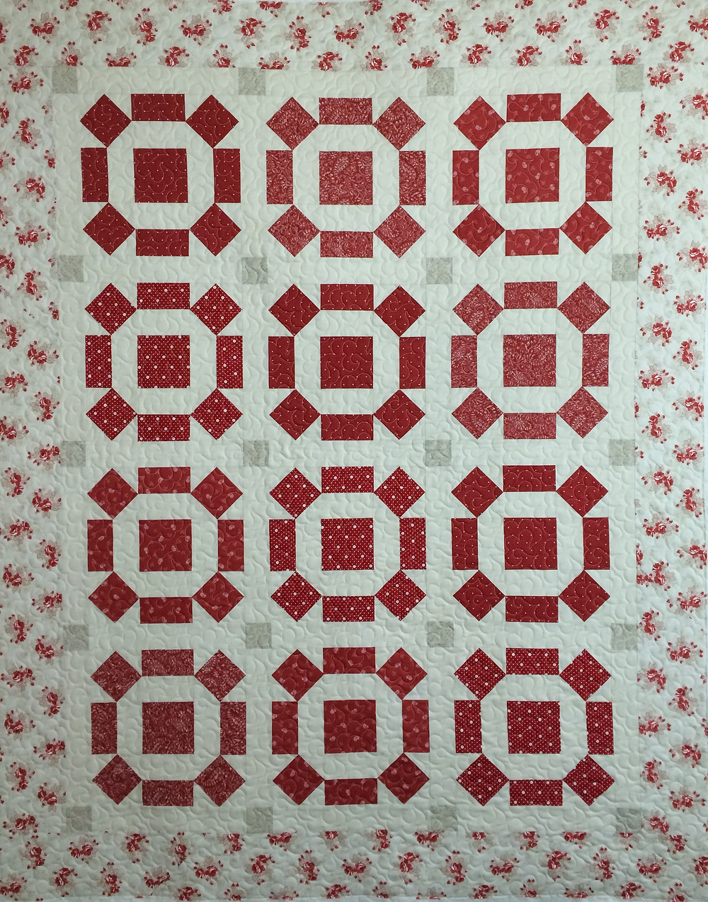 Red and Cream quilt by Cheryl Cohorn