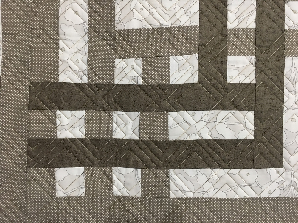 Geometric Quilting Pattern on Large Weave Quilt by Jill Seward