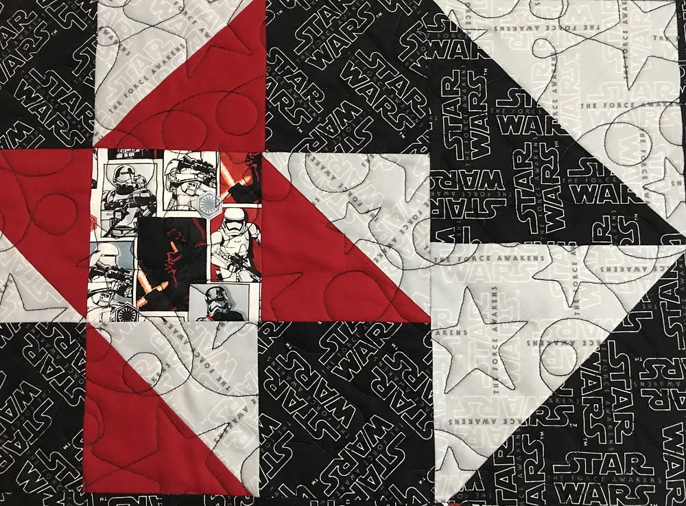 Stars Quilting pattern on Star Wars Quilt by  Nancy Nesbaum