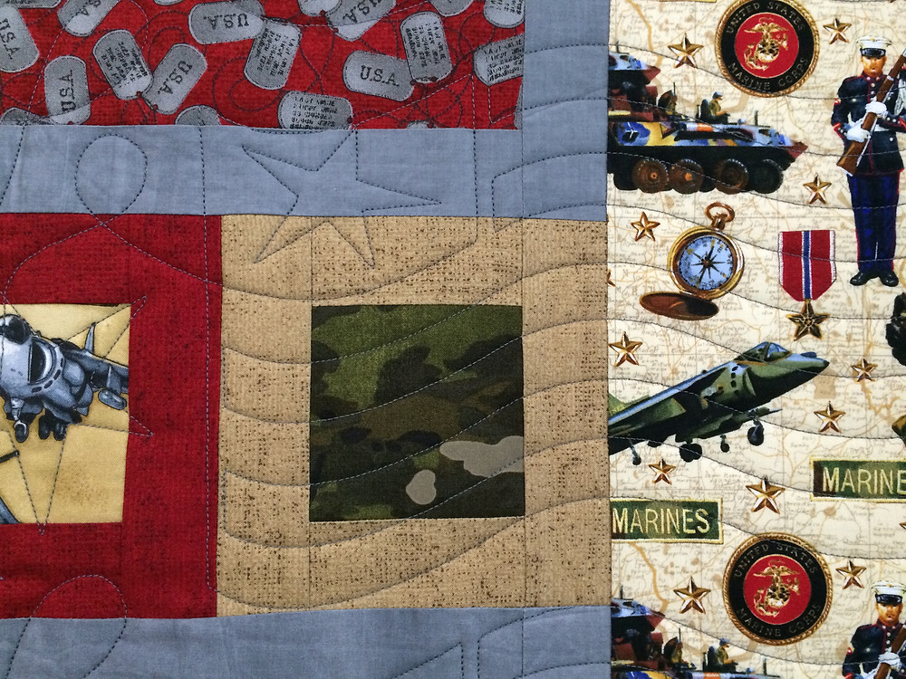 Closeup of Sharon Gregorczyk Military Marine Quilt