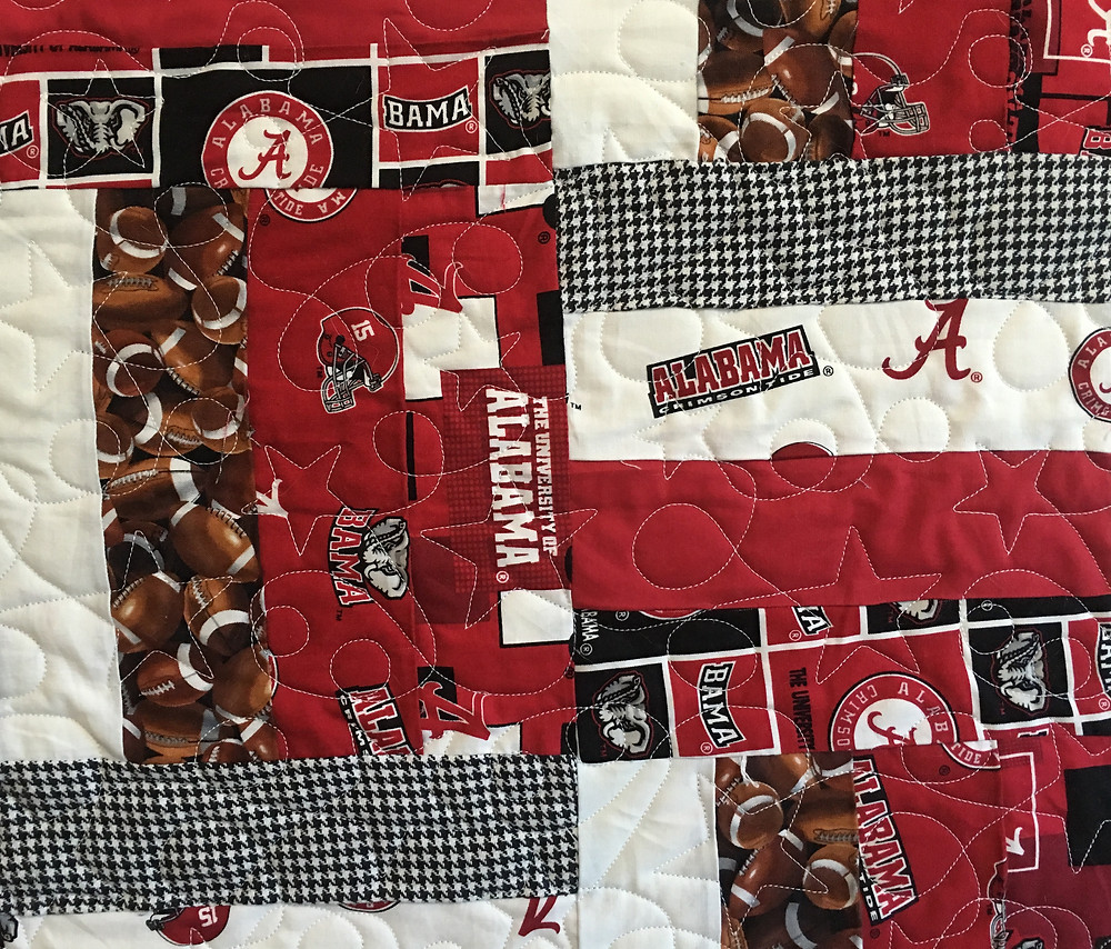 close up of quilting pattern ST1008B on Alabama Football Quilt