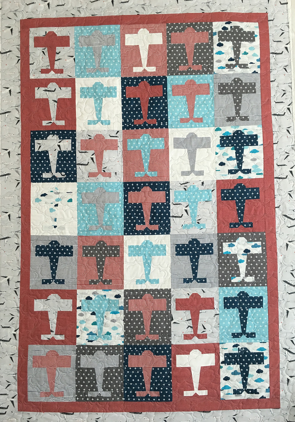 Airplanes Baby Quilt by Deb Taylor