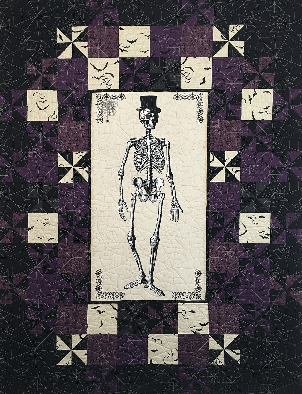 Julianna's Mr. Bones Grand Central Quilt in purple fabric