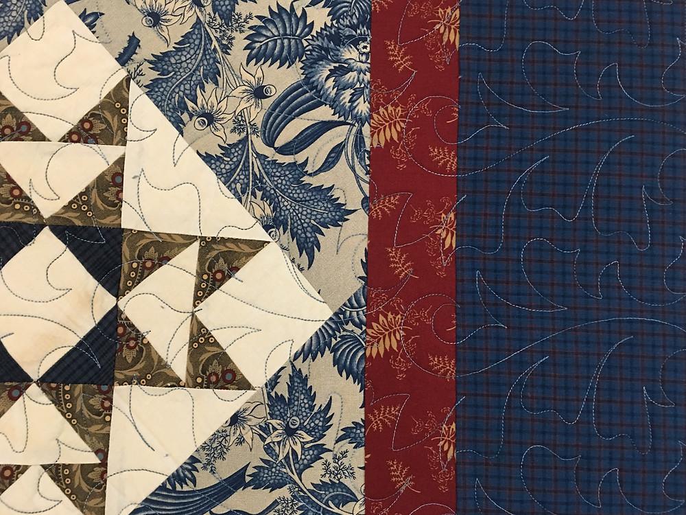 Leaves Quilting Pattern on Civil War Sampler Quilt by Terri Chavira