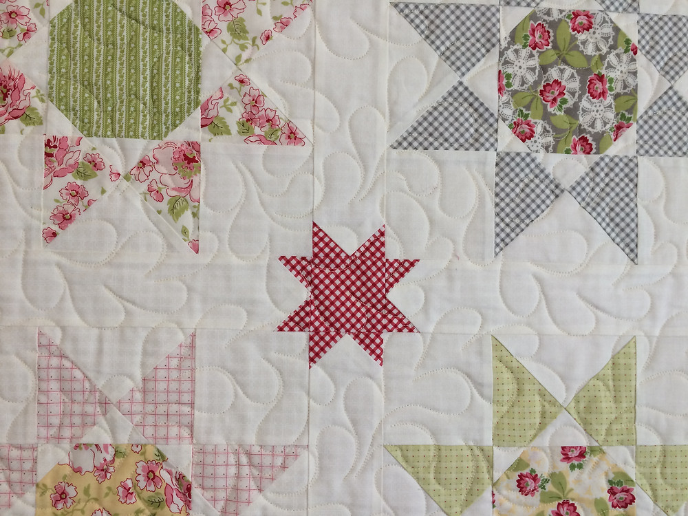 closeup of Deb Taylor Stars Quilt