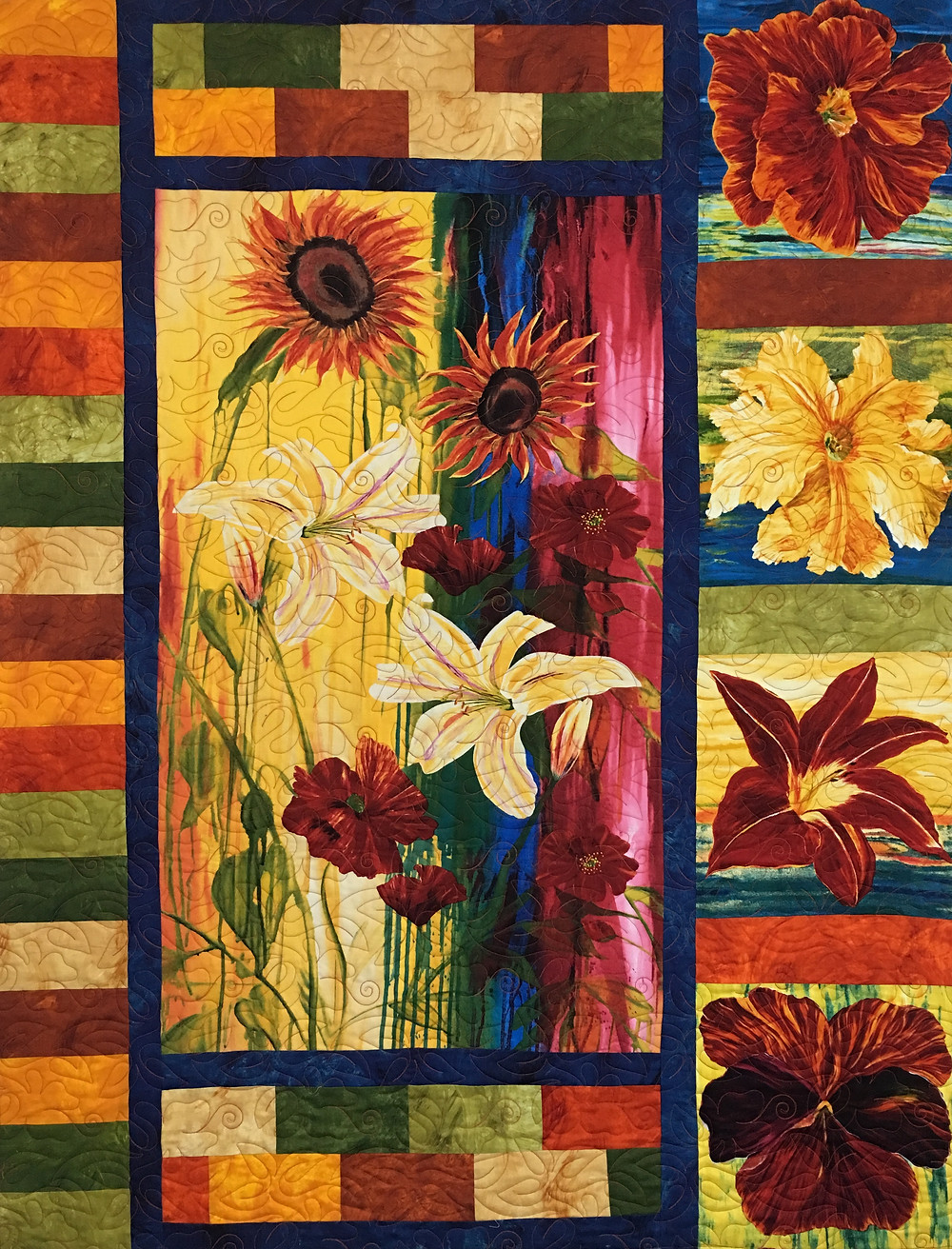 Tropical Flowers Quilt by Beth Robertson