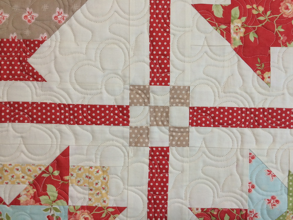 closeup of floral quilting design in sampler quilt