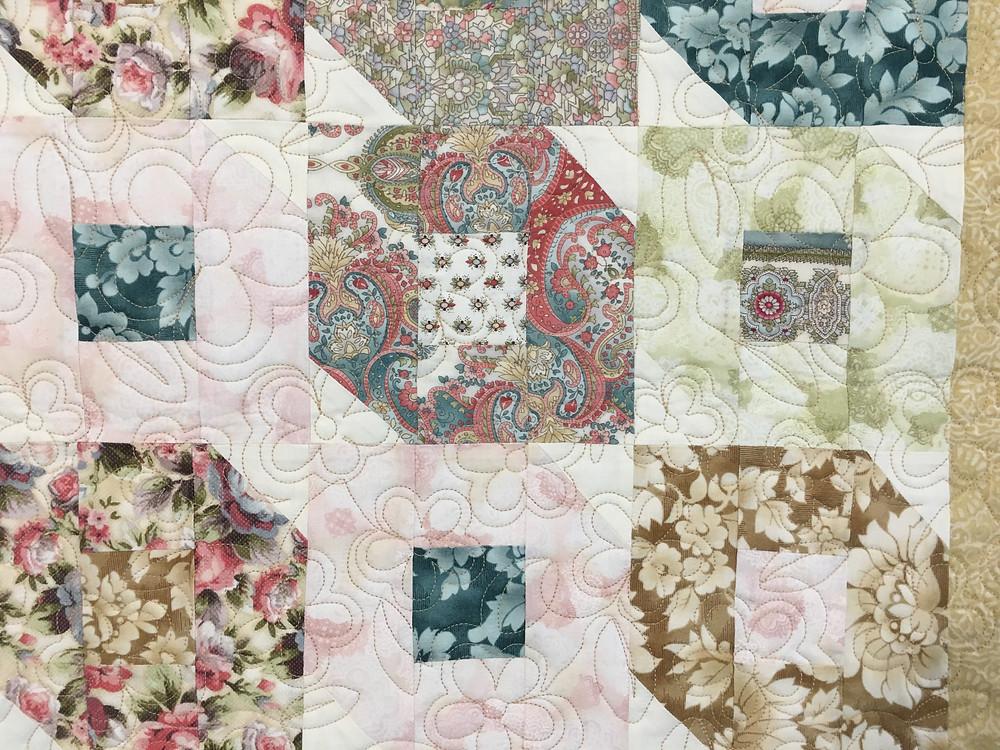 Flower Quilting Pattern on Flutterby Quilt by Nancy Kear-Johnson