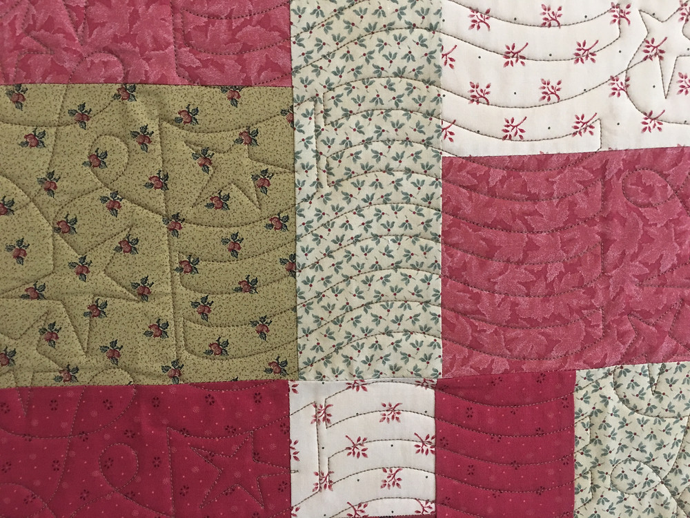 Another closeup of Flag Quilting Pattern on Amy Gibbs Quilt