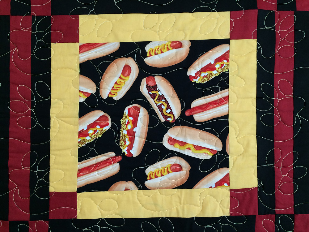 Another Close up of Sue Lindsay Hot Dog Quilt