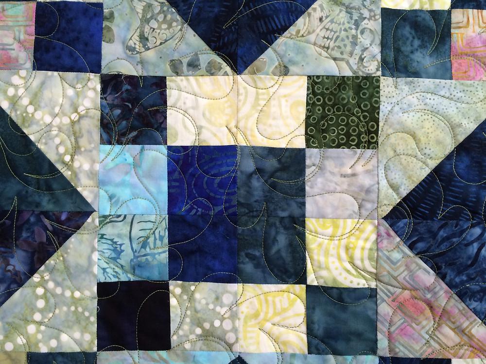 closeup of Evelyn Edinburg Jazz Quilt
