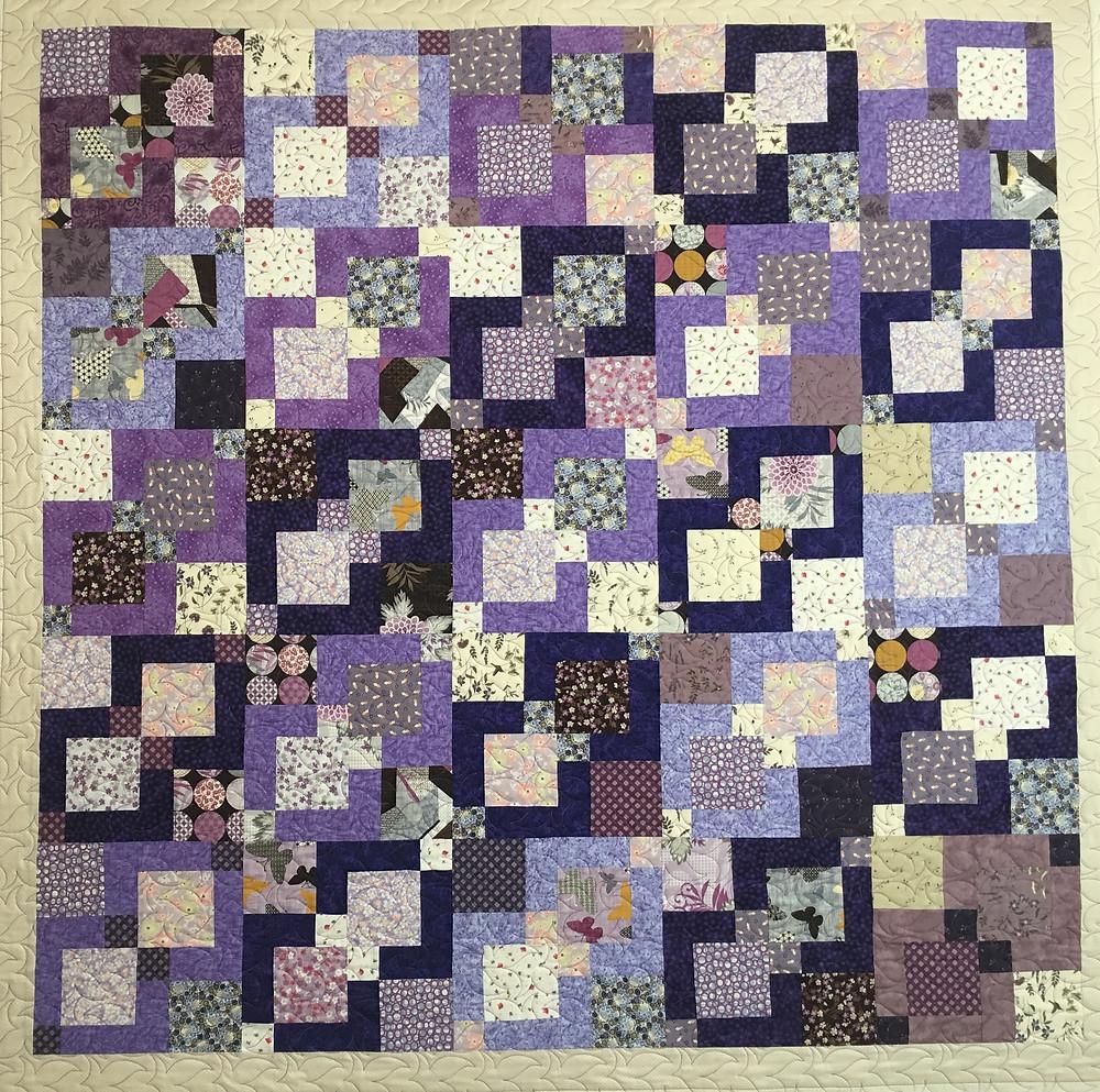 Purple Nine Patch Quilt by Cindy Lovelace