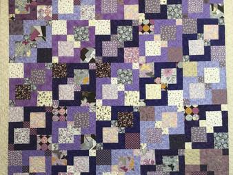 Cindy Lovelace Purple Nine Patch Quilt