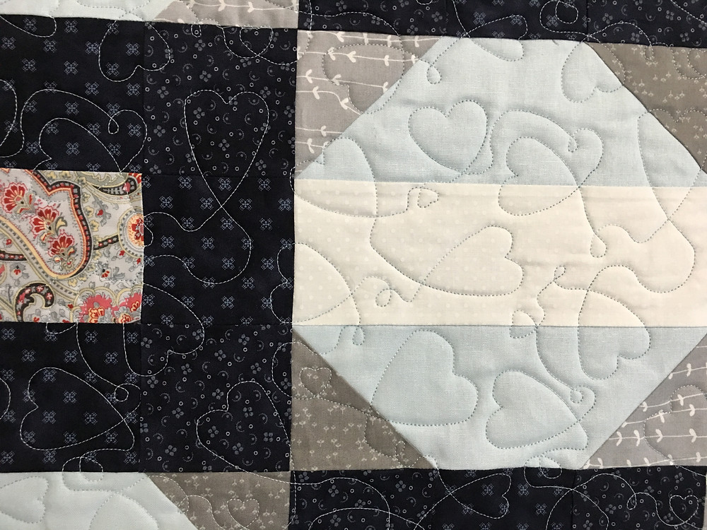 Hearts Quilting Pattern on Five Patch and Snowball Quilt by Jennifer Eaton