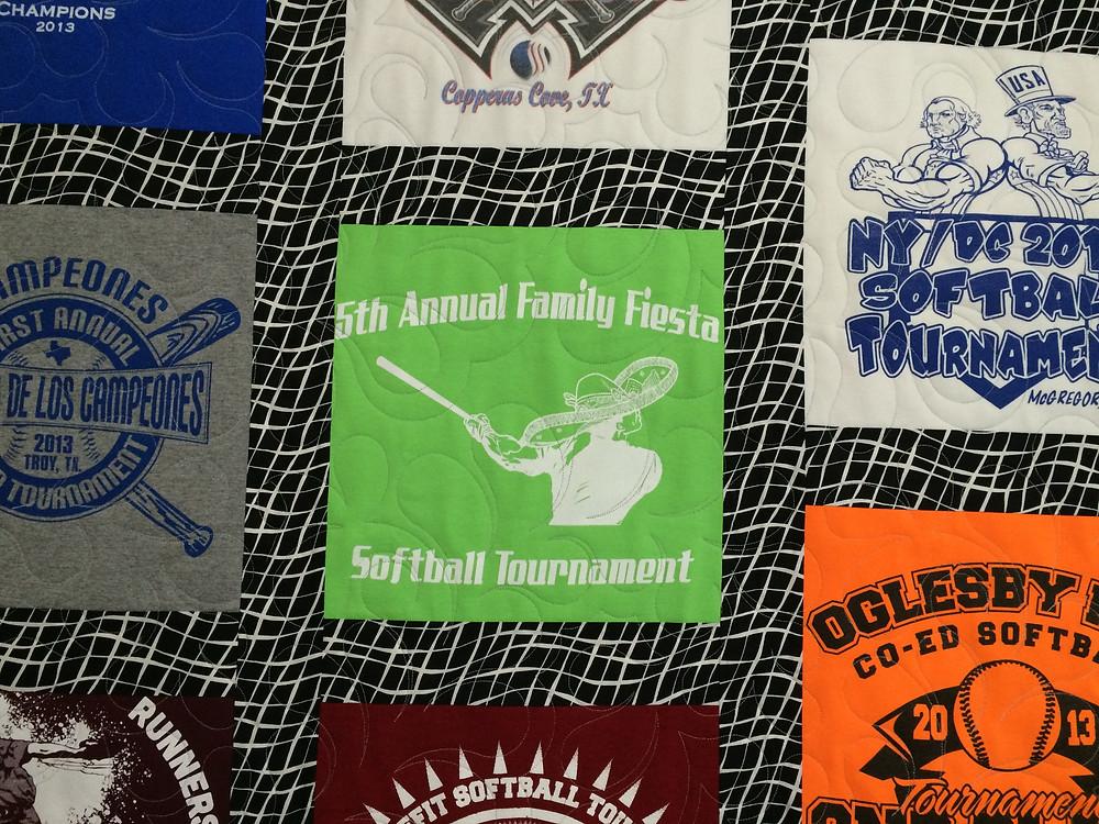Closeup of Andrea's softball tshirt quilt