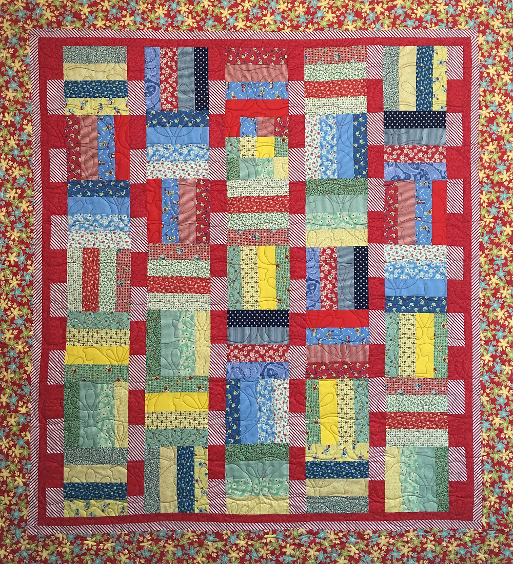 Vintage fabrics in primary colors by Judi Castro