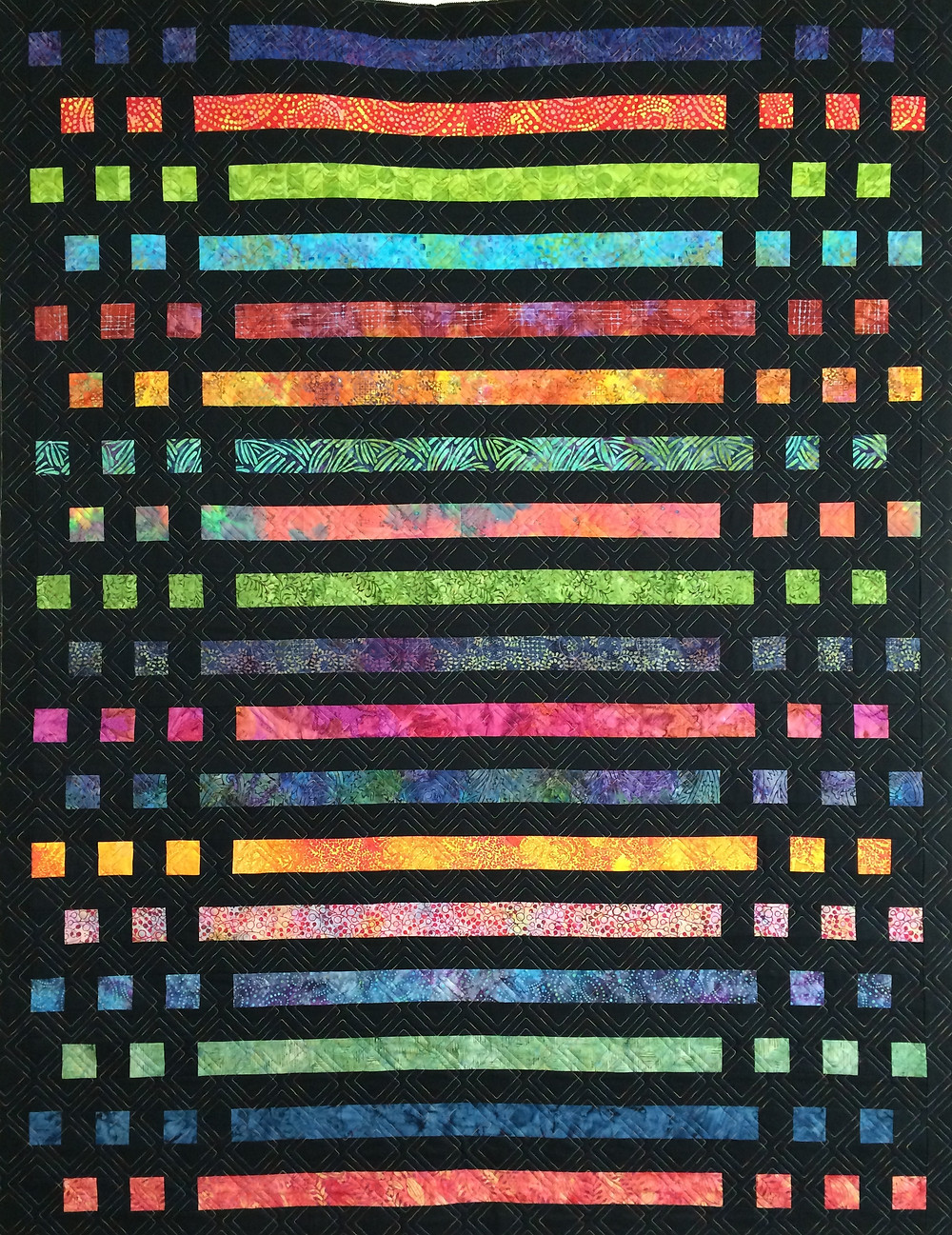 dot dot dash morse code quilt in bright color fabrics