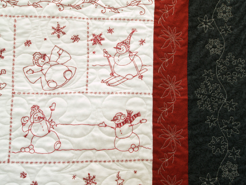 Snowball Fight in Redwork Quilt