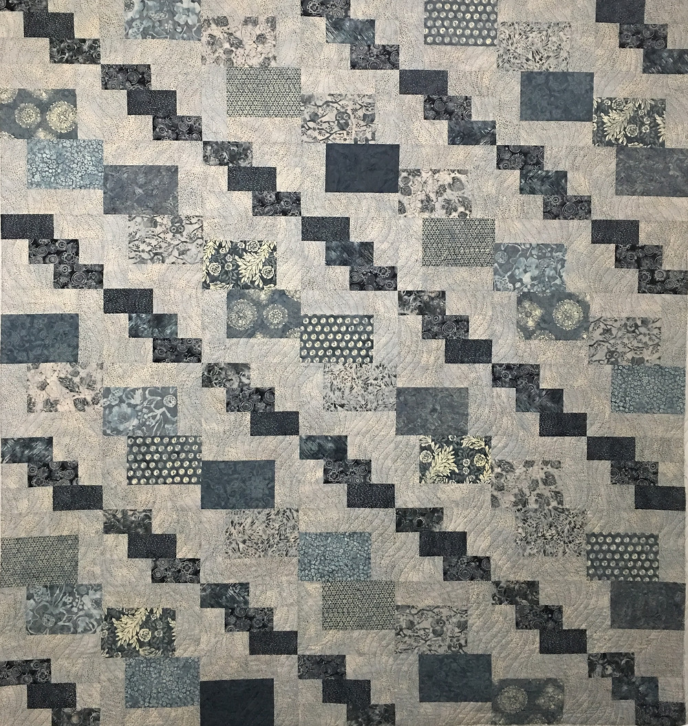 Shades of Blue and Gray Quilt by Cheryl Cohorn