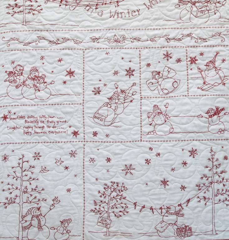 Redwork Snowmen Winter Wonderland