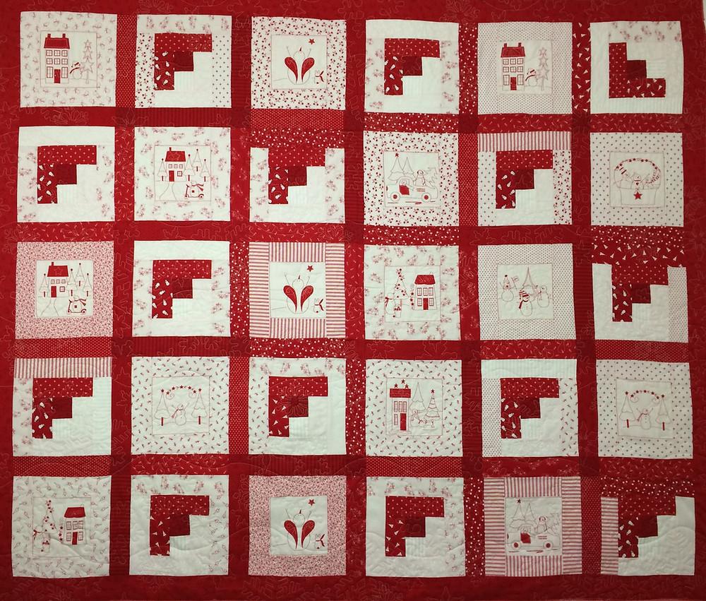 snowman redwork quilt with log cabin blocks