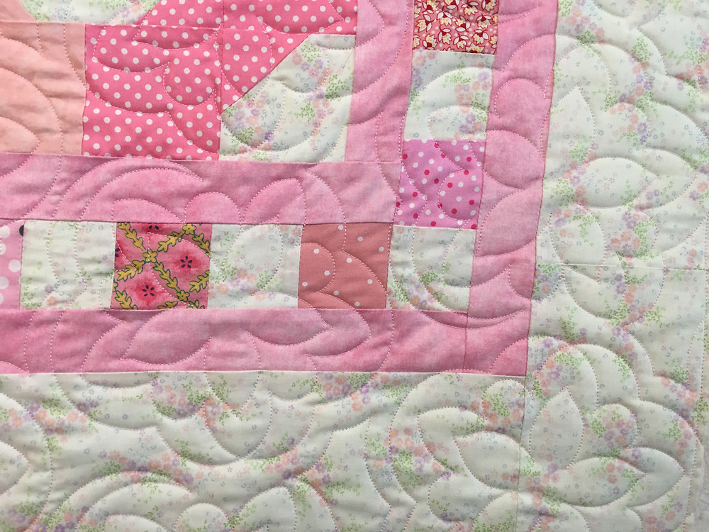 Another closeup of the Pink and White Bowtie Quilt