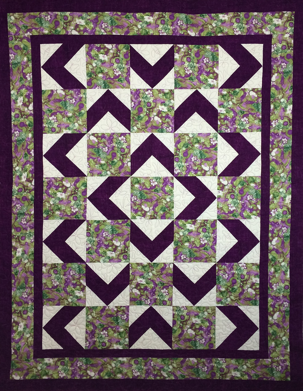 Walk About for Mom Quilt in purples anbd white