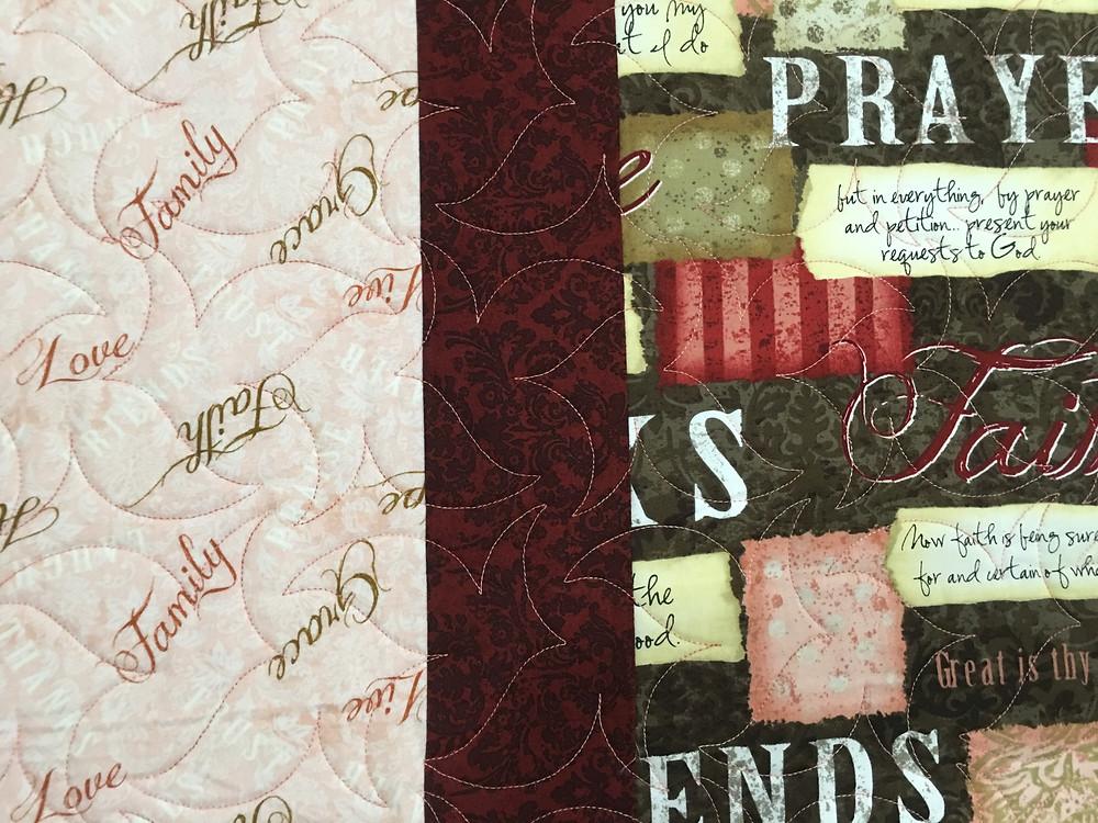 Close up of Wendy Prayer Quilt