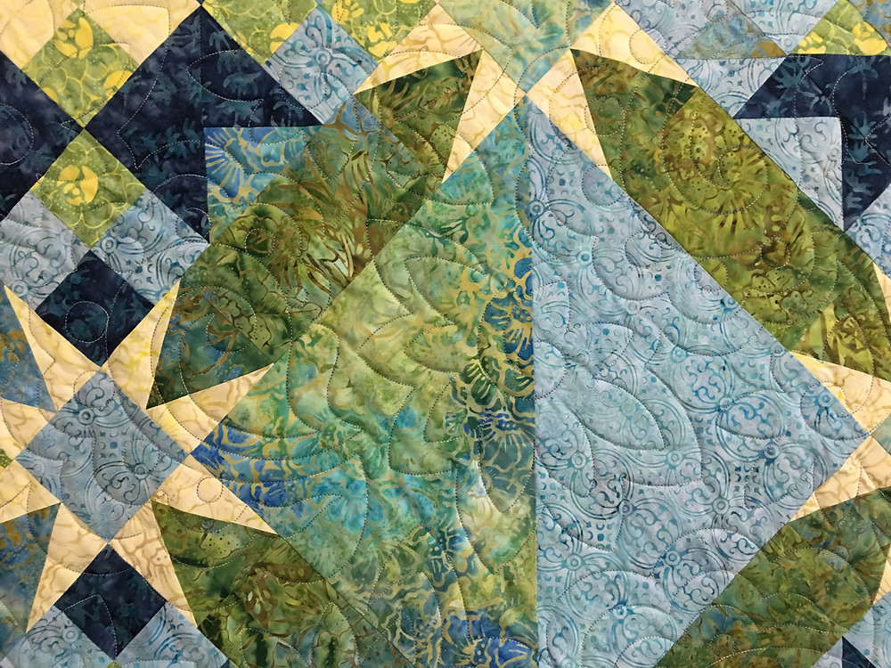 Flower Quilting Pattern on Evening Star Quilt by Pam OKane