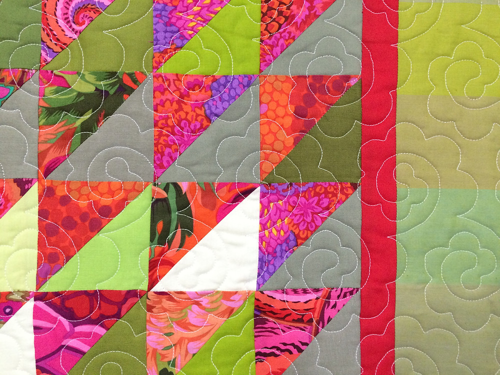 Sue Antle Red and Green Half Square Triangle Quilt